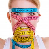 stock photo of measurements  - Time for diet slimming weight loss concept - JPG