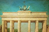 Retro Brandenburg Gate (Brandenburger Tor), famous landmark in Berlin, Germany,rebuilt in the late 1