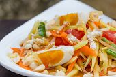 stock photo of green papaya salad  - green papaya salad with salted egg thai food Thai cuisine - JPG