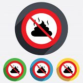 picture of feces  - No Feces sign icon - JPG
