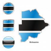 flag of Botswana in map and web buttons shapes