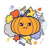 picture of kawaii  - Halloween kawaii print or card with cute doodle pumpkin - JPG