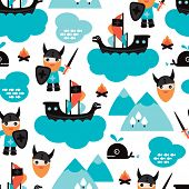 stock photo of thor  - Seamless viking ship and pirate whale fish illustration for kids background pattern in vector - JPG