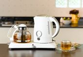 picture of kettles  - Electric kettle and glass pot for tea time or coffee time - JPG