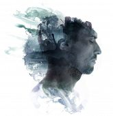 picture of combine  - Meditative portrait of attractive man combined with watercolor drawing - JPG