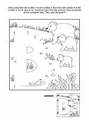 picture of letter b  - Educational connect the dots picture puzzle and coloring page  - JPG