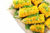 stock photo of corn cob close-up  - Grilled corn cobs - JPG