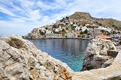 stock photo of hydra  - View of Hydra or Ydra a picturesque Greek Saronic island in the Aegean Sea - JPG