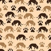 image of dog footprint  - dog and footprint of dog seamless pattern eps10 - JPG