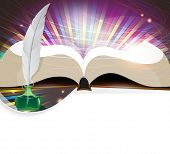 pic of inkpot  - Open book feather and inkwell on an abstract background - JPG