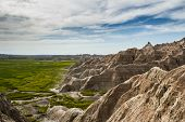 picture of early spring  - beautiful springtime landscape of the Badlands in south dakota with spring green grass - JPG