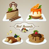stock photo of crepes  - Decorative sweets best dessert set of crepes cheesecake layered cake with syrup vector illustration - JPG