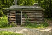 stock photo of revolutionary war  - A replica Revolutionary War soldier hut in Jockey Hollow National Historic Park in New Jersey - JPG
