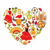 image of senora  - Decorative spain cultural traditions flamenco dance food grape vine emblems heart shape print poster abstract vector illustration - JPG