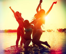 picture of jumping  - Beach Party - JPG