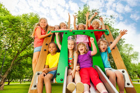 pic of chute  - Excited group kids - JPG