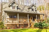 stock photo of log cabin  - Cute log cabin in the mountains of Maggie Valley North Carolina - JPG