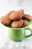 image of lenten  - Lenten chocolate and jam cookies on green plate - JPG