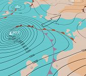 stock photo of generic  - Editable vector illustration of an angled generic weather map showing a storm depression - JPG