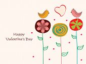picture of corazon  - Cute love birds sitting on creative flowers with heart shape for Happy Valentine - JPG