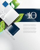 image of pamphlet  - eps10 vector elegant leaf elements geometric squares corporate business background - JPG