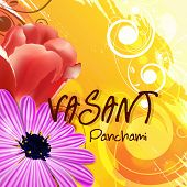 picture of saraswati  - Beautiful greeting card design with shiny flowers on floral decorated background for Vasant Panchami celebration - JPG