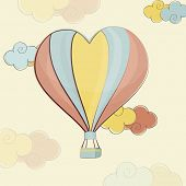 pic of corazon  - Heart shape colorful hot air balloon flying on cloudy background for Happy Valentine - JPG