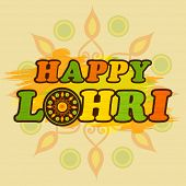 picture of rangoli  - Colorful text Happy Lohri on floral rangoli decorated background - JPG