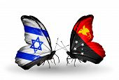 stock photo of papua new guinea  - Two butterflies with flags on wings as symbol of relations Israel and Papua New Guinea - JPG