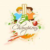 foto of little-league  - Cute little kids with wicket stumps - JPG