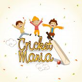 stock photo of cricket bat  - Cute little kids enjoying with bat and red ball for Cricket Mania - JPG