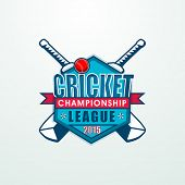 pic of cricket bat  - Stylish sticky design with bats and ball for Cricket Championship League 2015 concept - JPG