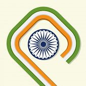 pic of ashoka  - Happy Indian Republic Day celebration concept with national flag color stripes and Ashoka Wheel - JPG