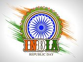 picture of ashoka  - Indian Republic Day celebration sticker or label design with Ashoka Wheel on national flag colors paint stroke background - JPG