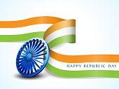 stock photo of ashoka  - Shiny Ashoka Wheel with national flag color stripe for Happy Indian Republic Day celebration - JPG
