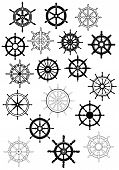 pic of ship steering wheel  - Retro ship wheel icon set in black color and outline style for nautical mascot or logo design - JPG