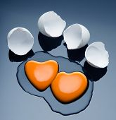 stock photo of yolk  - Broken Egg And Yolk - JPG