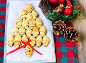 picture of crescent-shaped  - Cinnamon crescents shaped and decorated like Christmas tree - JPG
