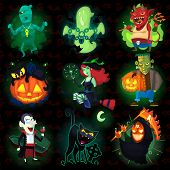 pic of halloween  - Set of scary halloween characters with seamless pattern at background - JPG