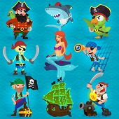 stock photo of buccaneer  - Set of fearless pirates at sea with seamless background - JPG