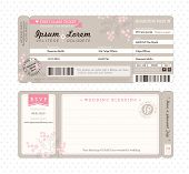 stock photo of cutting board  - Pastel Boarding Pass Ticket Wedding Invitation Template - JPG