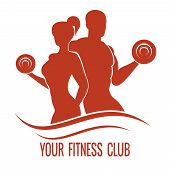 stock photo of dumbbell  - Fitness logo with muscled man and woman silhouettes - JPG