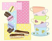 pic of eclairs  - an illustration of a stack of colorful tea cups with macaroons and eclairs on an abstract spotty background - JPG