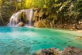 Постер, плакат: Deep forest waterfall at Erawan waterfall