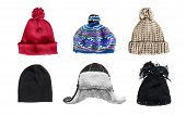 stock photo of knitwear  - Set of winter warm hats isolated over white - JPG