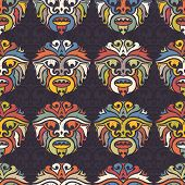 picture of african mask  - Tribal mask seamless pattern - JPG