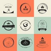 image of ashtanga vinyasa yoga  - Set of logos for yoga studio or meditation class - JPG