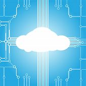 image of circuits  - Illustration of cloud computing concept with circuit design and glowing cloud - JPG