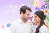 picture of girly  - Handsome man offering his girlfriend a rose against digitally generated girly floral design - JPG