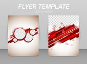 picture of pamphlet  - Abstract flyer template design with stripe lines and circles - JPG